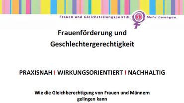 Frauenförderung und Geschlechtergerechtigkeit, Cover Broschüre