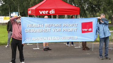Amazon-Beschäftige protestieren in Bad Hersfeld
